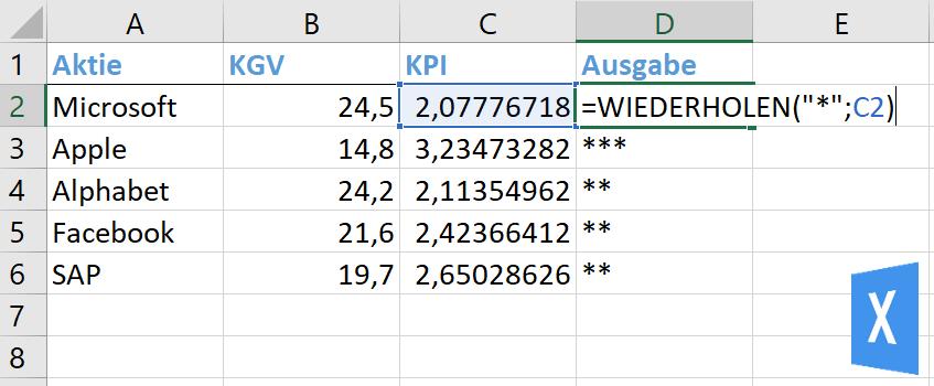 Excel Insights: DIe Excel FUnktion WIEDERHOLEN wird benutzt, um aus den KGVs diverser Aktien über einen KPI ein Rating mit Sternen darzustellen.